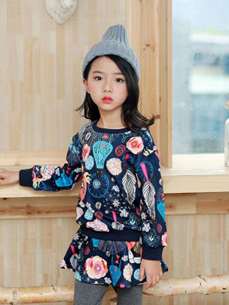 韩芽儿童装品牌2019春夏印花卫衣+裙裤两件套儿童套装