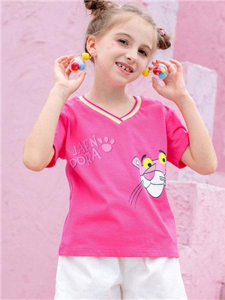 理想之光童装品牌2019春夏粉红色短袖T恤