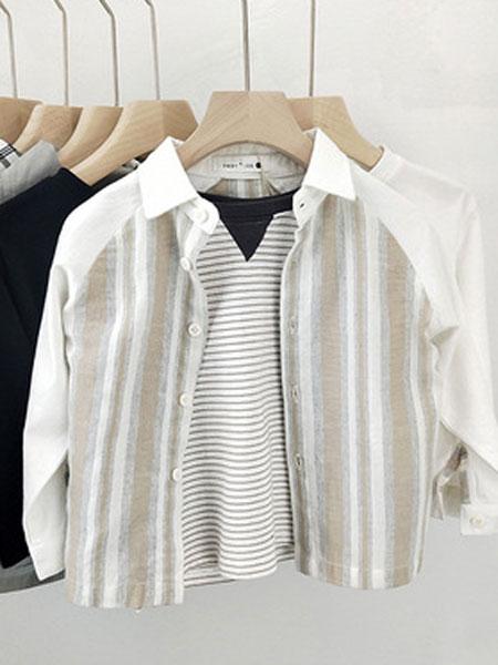 米纯童装品牌2019春夏衬衫纯棉立领衬衣