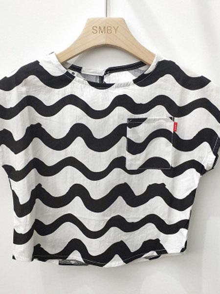 米纯童装品牌2019春夏儿童棉麻薄款短袖条纹t恤