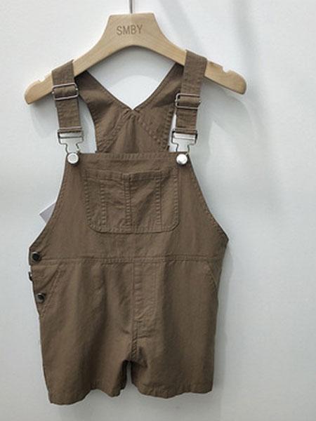 米纯童装品牌2019春夏儿童纯棉背带裤中小童