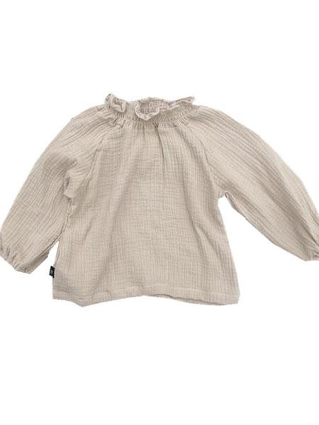 椰木童装品牌2019春夏高领小花边棉麻衬衫 女童泡泡袖娃娃衫