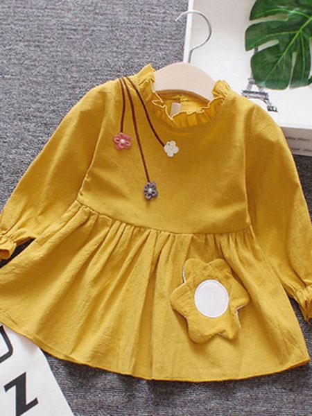 宝酷一族童装品牌2019春夏长袖公主裙女宝宝裙子