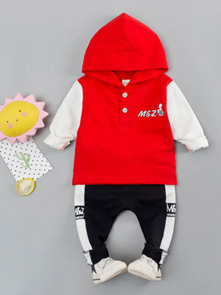 宝酷一族童装品牌2019春夏长袖连帽卫衣套装时尚字母运动两件套