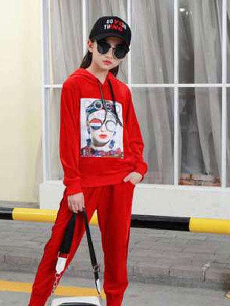 宝酷一族童装品牌2019春夏长袖卫衣套装女童金丝绒运动两件套