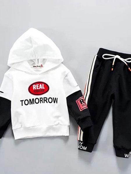 宝酷一族童装品牌2019春夏长袖卫衣套装男童运动连帽两件套