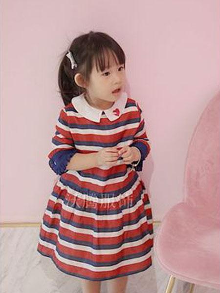 沃腾童装品牌2019春季条纹印花彩虹贴布绣花加丝绸长袖双层连衣裙