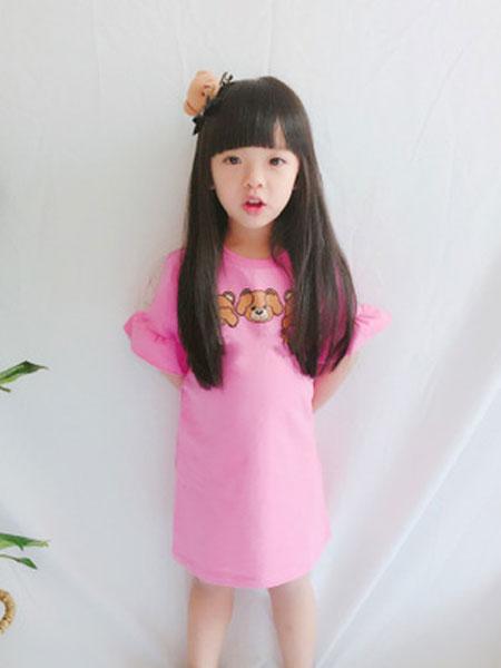 沃腾童装品牌2019春季印花针织荷叶边卫衣连衣裙