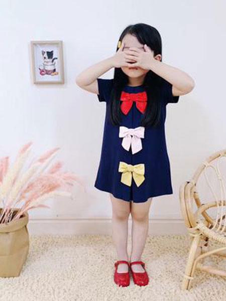 沃腾童装品牌2019春季三色糖果色蝴蝶结连衣裙