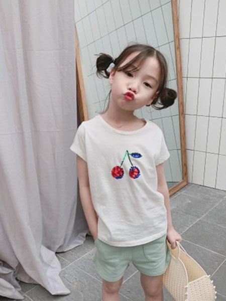 沃腾童装品牌2019春季樱桃全棉T恤