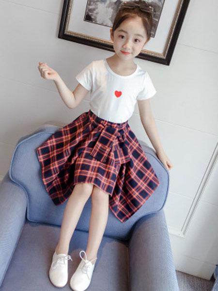 丽玥童装品牌2019春夏爱心短袖格子裙套潮