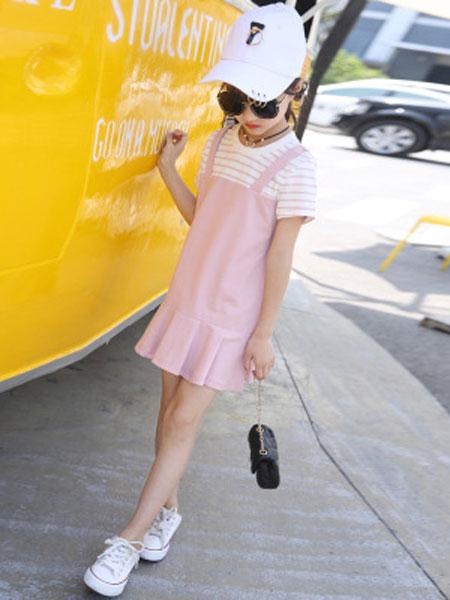 丽玥童装品牌2019春夏学院风童裙中大童甜美条纹假两件连衣裙