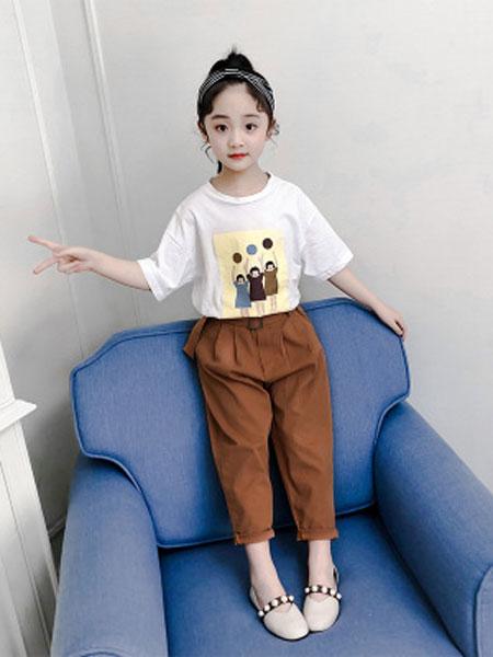 丽玥童装品牌2019春夏休闲儿童中大童印花T+腰带裤子套
