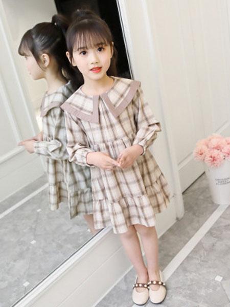 丽玥童装品牌2019春夏个性层层格子翻领连衣裙潮