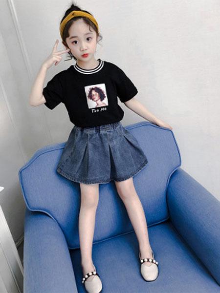 丽玥童装品牌2019春夏印花圆领T+牛仔裙两件套