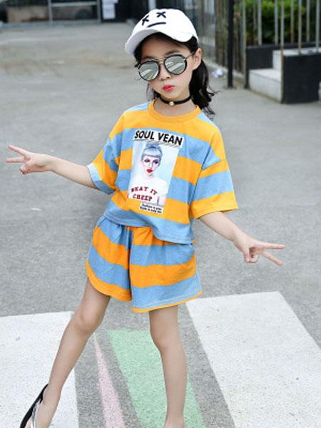 萌顺童装品牌2019春夏条纹t恤短袖+短裤儿童洋气两件套套装