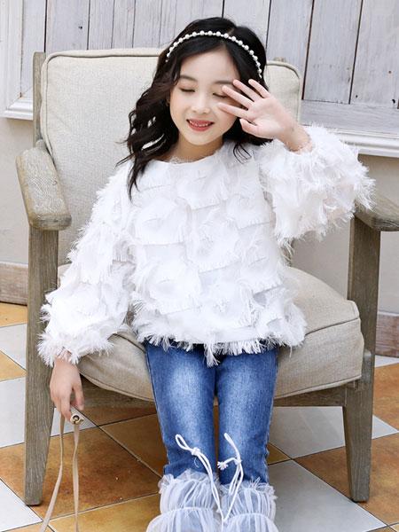 萌顺童装品牌2019春夏白衬衫大童长袖衬衣套头羽毛娃娃衫