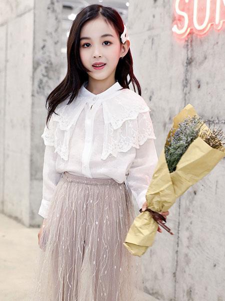 萌顺童装品牌2019春夏长袖衬衣套头蕾丝娃娃衫