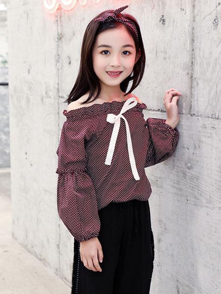 萌顺童装品牌2019春夏一字肩衬衫上衣超洋气长袖衬衣