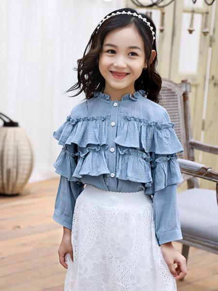 萌顺童装品牌2019春夏百搭白色木耳边衬衣儿童立领上衣