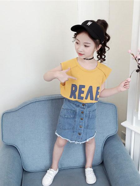 萌顺童装品牌2019春夏牛仔裙无袖背心两件套儿童洋气套裙