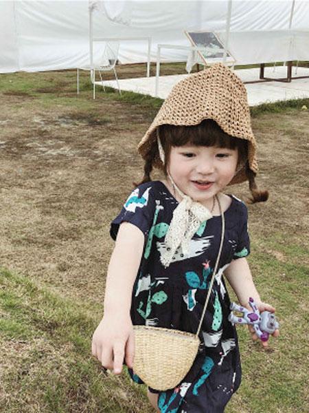 左左王子童装品牌2019春季棉仙人掌连衣裙儿童短袖连衣裙棉
