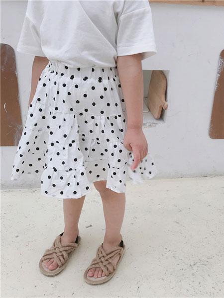 左左王子童装品牌2019春季女童波点半身裙儿童全棉半裙