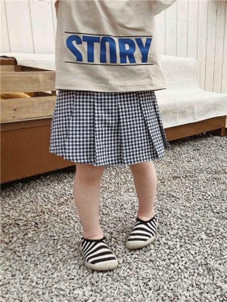左左王子童装品牌2019春季学院风百褶裙裤儿童百褶格子裙裤短裤