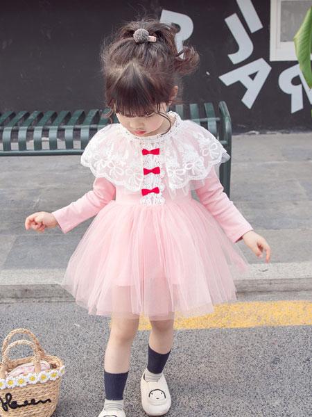 小噜猫童装品牌2019春夏欧美风蕾丝连衣裙