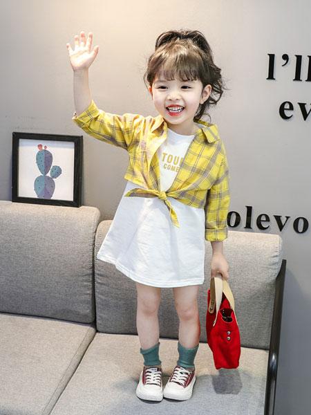 小噜猫童装品牌2019春夏韩版格子衬衫+背心裙两件套