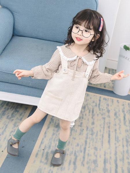 小噜猫童装品牌2019春夏韩版牛仔背带裙两件套