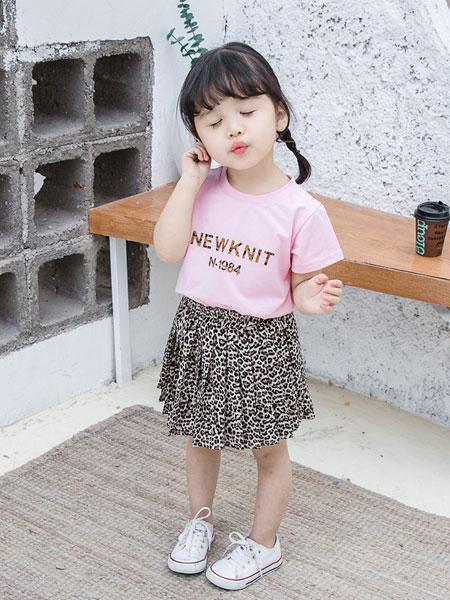 小噜猫童装品牌2019春夏字母短袖豹纹裙套装