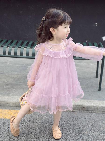 小噜猫童装品牌2019春夏韩版蕾丝连衣裙