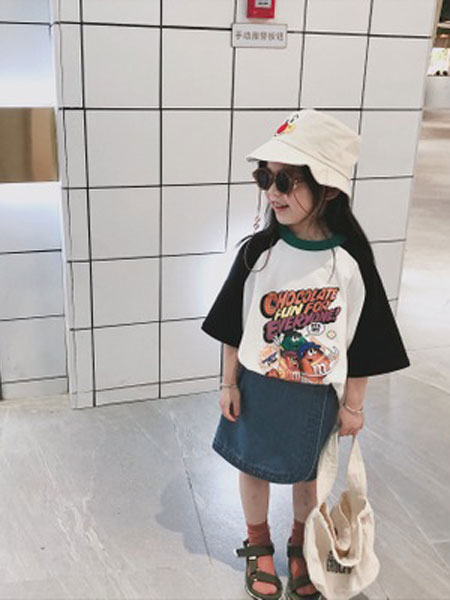 凡娟童装品牌2019春夏纯棉撞色卡通糖豆印花T恤