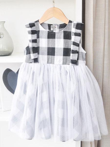 卡兰特童装品牌2019春夏荷叶边公主裙网纱百褶裙儿童裙子