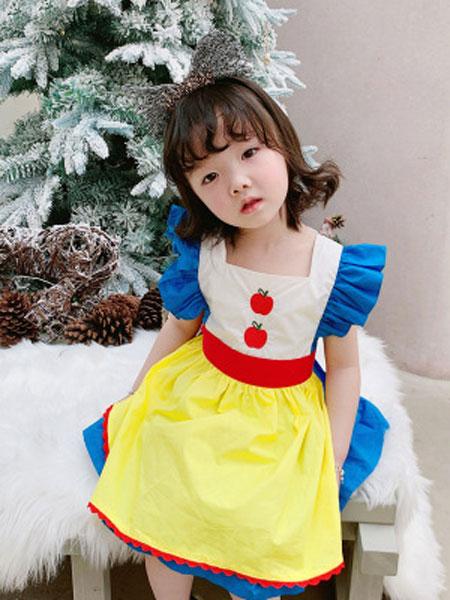 卡兰特童装品牌2019春夏飞袖童装公主裙子+围裙二件套