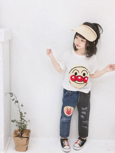 卡兰特童装品牌2019春夏拼色面包超人童裝女童纯棉长裤子