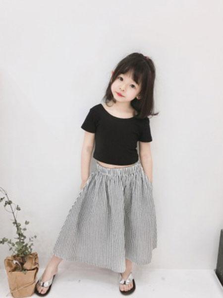 卡兰特童装品牌2019春夏露背T条纹半身裙儿童两件套装纯棉半身裙短袖