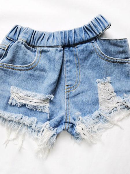 卡兰特童装品牌2019春夏热裤显腿长高腰破洞毛边牛仔短裤