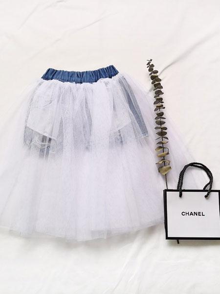 卡兰特童装品牌2019春夏半身长裙两面穿牛仔拼接网纱蓬蓬裙