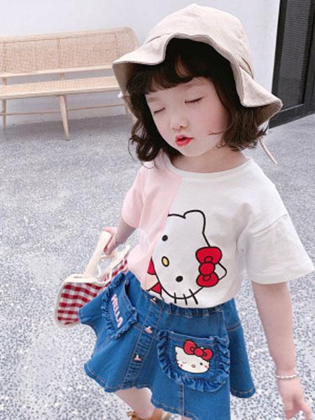 卡兰特童装品牌2019春夏KT猫咪T儿童印花纯棉短袖T恤上衣