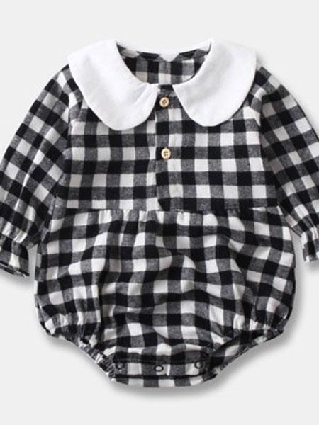 天依酷童装品牌2019春夏格子6娃娃领连体衣