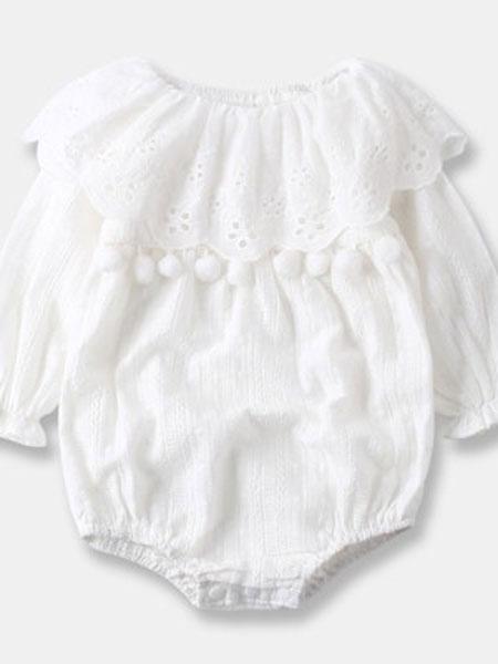 天依酷童装品牌2019春夏长袖包屁蕾丝可爱韩版连体衣