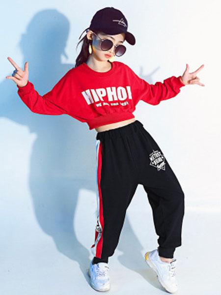 心梦缘童装品牌2019春夏嘻哈街舞服套装上衣漏脐舞蹈