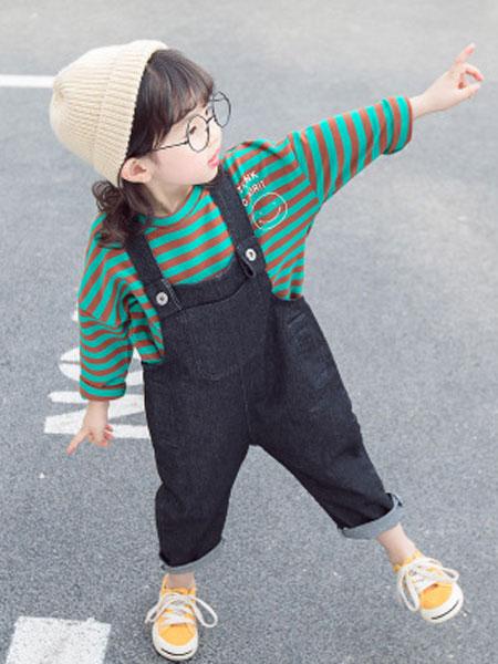 奕晗童装品牌2019春夏韩版童装两件套条纹T恤潮范套装