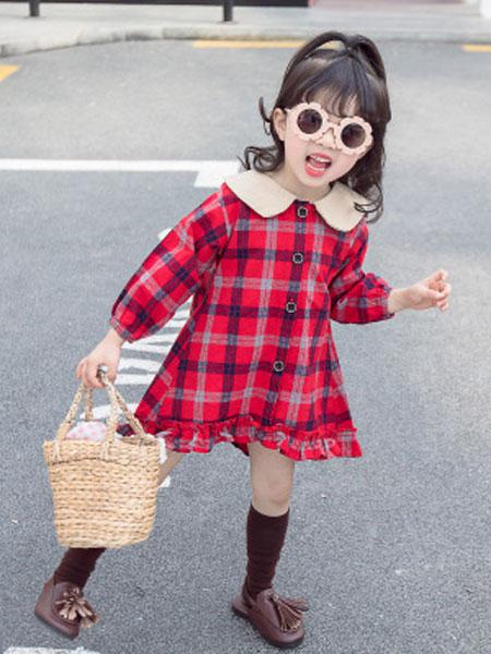 奕晗童装品牌2019春夏格子印花连衣裙女童娃娃领花边裙子