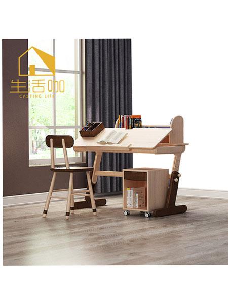 生活咖、鲁奇MLO青少年儿童家具 实木儿童学习升降桌椅套装