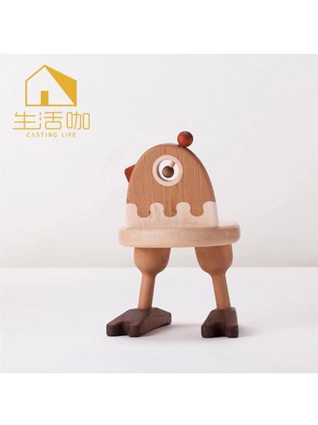 生活咖、鲁奇MLO青少年儿童家具 黑胡桃实木卡通宝宝座椅(小鸡)