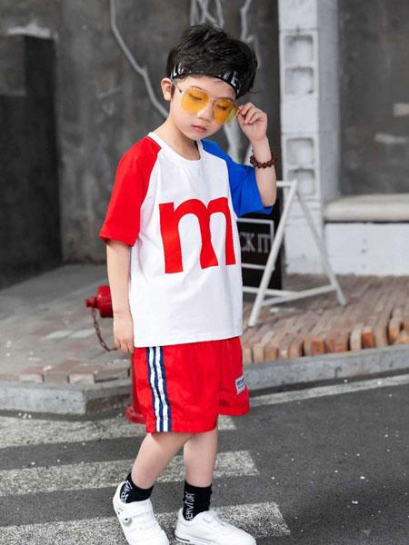 爱尚哆哆咪童装品牌2019春夏儿童印花字母短袖T恤运动七分裤两件套