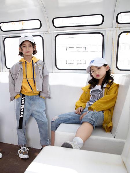 韩米娜风尚童装品牌2019春夏风衣宽松烫印字母休闲外